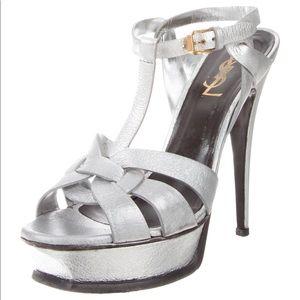 silver tone metallic yves saint laurent sandals